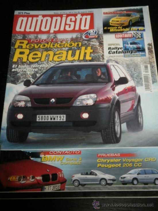 AUTOPISTA Nº 2175 - MARZO 2001 - RENAULT CLIO SPORT V6 / PEUGEOT 206 CC / CHRYSLER VOYAGER SE/ BMW (Coches y Motocicletas Antiguas y Clásicas - Revistas de Coches)