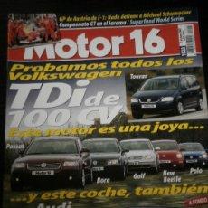 Coches: MOTOR 16 Nº 1023 - MAY 2003 - VW TOURAN / LEXUS RX300 / AUDI A3 TDI / VOLVO S60 R AWD / NISSAN MICRA. Lote 37928936