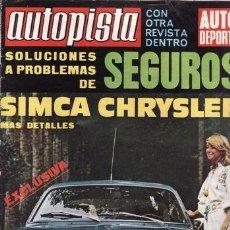 REVISTA AUTOPISTA Nº 601 AÑO 1970. CONTACTO: CHRYSLER 1600. CHRYSLER 180.