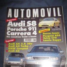 Coches: REVISTA AUTOMOVIL Nº 232 AUDI S8 AUDI A4 SALON DE BARCELONA COCHES - FORMULA 1 - RALLYE. Lote 63417480