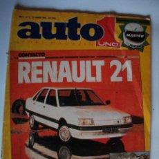 Coches: REVISTA AUTO UNO Nº8 AÑO 1986 RENAULT 21 FIAT UNO TURBO ALFA ROMEO GTV GRA. Lote 40003537