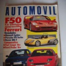 Coches: REVISTA AUTOMOVIL Nº207 AÑO 1995 FERRARI F50 PORSCHE 911 POSTER ADRIAN CAMPOS. Lote 40004005