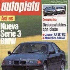 Coches: REVISTA AUTOPISTA Nº 1620 AÑO 1990. COMP: MERCEDES SL 500 Y JAGUAR XJ SX V12. FIAT TEMPRA 1.8 IE SX. Lote 209593230