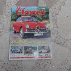 Coches: MOTOR CLASICO Nº 193, DOSSIER ALFA ROMEO GIULIETTA/GIULIA SPINT, BULTACO SHERPA T-250, ALVIS TA21 DH. Lote 195180588