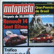 Carros: AUTOPISTA Nº 1143 RENAULT 14 SEAT RITMO. Lote 42493673