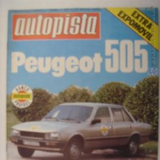 Coches: . AUTOPISTA Nº1100 PEUGEOT 505 EXTRA EXPOMOVIL 10 DE MAYO BANCO PRUEBAS 21,7 X 27,7 CM. Lote 42650665