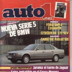 Coches: REVISTA AUTO UNO Nº 55 AÑO 1988. PRUEBA: FORD SIERRA COSWORTH. CITROEN BX GTI 16V. YAMAHA FZR 1000 G. Lote 43182035