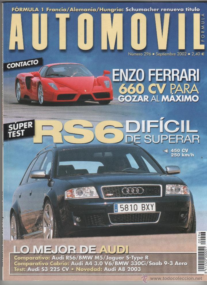 AUTOMOVIL 296, POSTER,FERRARI ENZO,AUDI RS6,BMW M5, JAGUAR S-TYPE R,AUDI S3,SAAB 9-3 CABRIO, A4, segunda mano
