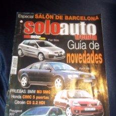Coches: REVISTA COCHES SOLO AUTO Nº44 JUNIO 2001 SALON BARCELONA,FIAT STILO,AUDI A6,RENAULT CLIO.... Lote 46083844