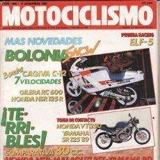 Coches: REVISTA MOTOCICLISMO Nº 1086 AÑO 1988. PRU: YAMAHA SR 125. HONDA VT 250 SPADA. COMP: MALAGUTI RST 80. Lote 109489688