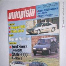 Coches: REVISTA AUTOPISTA Nº 1579 DE 19 OCTUBRE DE 1989,HONDA CIVIC,LOTUS ELAN,PEUGEOT 605,FIESTA XR 2I,SAAB. Lote 46771586