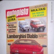 Coches: REVISTA AUTOPISTA Nº 1593 DE 25 ENERO 1990,LAND ROVER DISCOVERY,LAMBORGHINI DIABLO,MONTECARLO. Lote 46787481