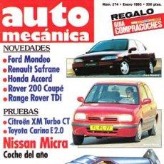 Coches: AUTOMECANICA Nº 274 (ENERO 1993). Lote 47302067
