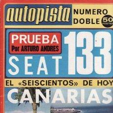 Coches: REVISTA AUTOPISTA Nº 840-841 AÑO 1975. PRUEBA: SEAT 133.. Lote 55088275