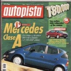 Coches: REVISTA AUTOPISTA Nº 1995 AÑO 1997. PRU: MERCEDES A 140. COMP: ROVER MINI COOPER Y TWINGO WING. . Lote 48480348