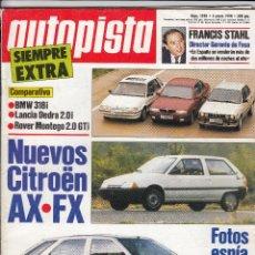 Coches: REVISTA AUTOPISTA Nº 1590 AÑO 1990. PRU: FORD FIESTA CTX 1.4 CLX. COMP: BMW 318I, LANCIA DEDRA 2.0I . Lote 50230729