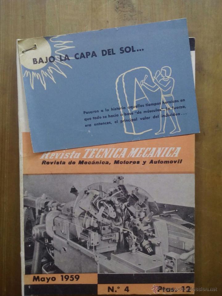 REVISTA TECNICA MECANICA. REVISTA DE MECÁNICA, MOTORES Y AUTOMÓVIL. MAYO 1959. NUMERO 4. (Coches y Motocicletas Antiguas y Clásicas - Revistas de Coches)