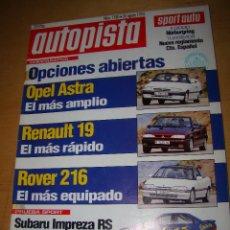 Coches: AUTOPISTA - 26 AGOSTO 1993 - Nº 1780 - PRUEBA SUBARU IMPREZA RS. Lote 51960148