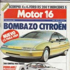 Coches: REVISTA MOTOR 16 Nº 102 AÑO 1985. COMP: FERRARI 308 GTB Y PORSCHE 944 TURBO. PRU: MORINI KANGURO 350. Lote 109317551