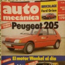 Coches: REVISTA AUTO MECANICA Nº 170 LANCIA RALLY 037 EL GAITERO PEUGEOT 205 FORD ORION. Lote 53812604