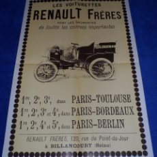 Coches: POSTER RENAULT - MOTOR JOVEN. Lote 53895352