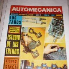 Coches: AUTOMECANICA Nº 2 AÑO 1969 ESTUDIO FRENOS FICHA SIMCA 1000. Lote 54617414