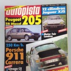 Auto: AUTOPISTA 1267, 29-10-83,PEUGEOT 205 SR DIESEL,JAGUAR XJS-HE,PORSCHE 911 ETERNA JUVENTUD,R. ANTIBES. Lote 55809306