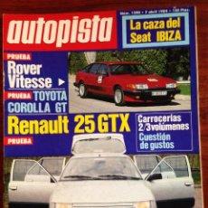 Coches: AUTOPISTA 1290,7-4-84,ROVER 3.5 VITESSE,RENAULT 25 GTX,TOYOTA COROLLA GT, 12H. SEBRING, 500 KM.MONZA. Lote 55886188