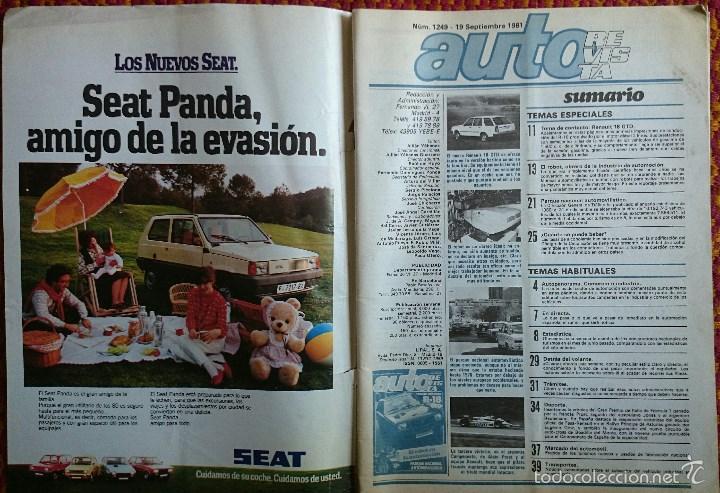 Coches: Auto Revista nº 1249, 19 septiembre 1981. Renault 18 GTD, Robots, Alcoholemia, Gran Premio de Italia - Foto 2 - 56938901