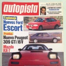 Coches: AUTOPISTA 1597,22-2-90,FORD SIERRA COSWORTH 4X4, FIAT TEMPRA, RALLY DE CATALUÑA, . Lote 57479782