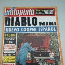 Coches: AUTOPISTA - Nº719-1973-AUTHI MINI DIABLO-PRUEBA PEUGEOT 104-. Lote 58008200
