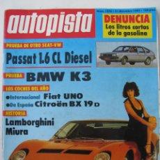 Coches: REVISTA AUTOPISTA Nº 1276 AÑO 1983. PRUEBA: VOLKSWAGEN PASSAT 1.6 CL DIESEL. BMW K3 - MIURA. Lote 67855645