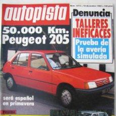 Carros: REVISTA AUTOPISTA Nº 1273 - DICIEMBRE 1983 - FIAT UNO DIESEL - 50.000KM PEUGEOT 205 GR. Lote 67857129