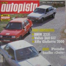Voitures: REVISTA AUTOPISTA Nº 1232 - AÑO 1983 - FOTO SUMARIO - BMW 323I - VOLVO 360GLT - ALFA GIULIETTA 2000. Lote 67876897