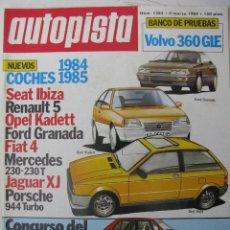 Coches: REVISTA AUTOPISTA Nº1285 - AÑO 1984 - FOTO SUMARIO - VOLVO 360 GLE. Lote 68141561