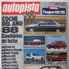 Coches: REVISTA AUTOPISTA Nº 1473 - AÑO 1987 - FOTO SUMARIO - PEUGEOT 405 SRI - ALFA 75 V6 - PEUGEOT 505 V6. Lote 68663093