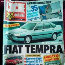 Coches: ANTIGUA REVISTA COCHE ACTUAL Nº83 AÑO 1989 FIAT TEMPRA- RENAULT 25-KADETT GSI MAZDA 323-GOLF GTI. Lote 77338229