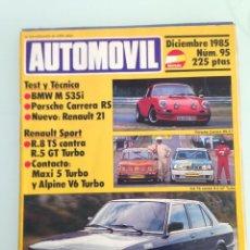 AUTOMOVIL Nº95,DICIEMBRE 1985,BMW M 535i,R8 TS,R5 GT TURBO,ALPINE V6 TURBO COPA,RENAULT 5 MAXI TURBO