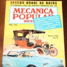 Coches: MECÁNICA POPULAR - ABRIL 1958 - SECCIÓN ANUAL DE AUTOS 50 PÁGINAS. Lote 80088473