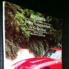 Coches: SOTHEBY´S / BELLES AUTOMOBILES DE COLLECTION / MONACO / DIAMANCHE 23 JULIET 1989. Lote 80614742