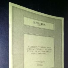 Coches: SOTHEBY´S / VETERAN, VINTAGE AND SPECIAL INTEREST MOTOR / SUSSEX / 25 OCTOBER 1986. Lote 80618538