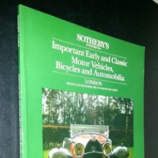 Coches: SOTHEBY´S / IMPORTANT EARLY AND CLASSIC MOTOR / LONDON / 9 DECEMBER 1985. Lote 80619094