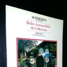 Coches: SOTHEBY´S / BELLES AUTOMOBILES DE COLLECTION / MONACO / 25 MAY 1986. Lote 80722394