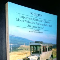 Coches: SOTHEBY´S / IMPORTANT EARLY AND CLASSIC MOTOR VEHICLES AUTOMOBILIA / LONDON / 4 DECEMBER 1989. Lote 80722682