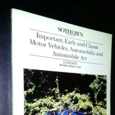 Coches: SOTHEBY´S / EARLY AND CLASSIC MOTOR VEHICLES, AUTOMOBILIA, AUTOMOBILE ART / LONDON / 3 JULY 1989. Lote 80723570