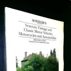 Coches: SOTHEBY´S / VETERAN VINTAGE AND CLASSIC MOTOR VEHICLES, MOTORCYCLES / BOOKLANDS / 15 OCTOBER 1988. Lote 80723946