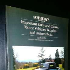 Coches: SOTHEBY´S / IMPORTANT EARLY AND CLASSIC MOTOR VEHICLES, BICYCLE, AUTOMOBILIA / LONDON / 1 DEC 1986. Lote 80724318