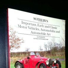 Coches: SOTHEBY´S / EARLY AND CLASSIC MOTOR VEHICLES, AUTOMOBILIA, AUTOMOBILIA ART / LONDON / MARCH 1986. Lote 80724514