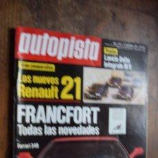 Voitures: AUTOPISTA Nº 1575, 21 SEPTIEMBRE 1989, NUEVO R21, SALON DE FRANCFORT, GP ITALIA. Lote 81619468