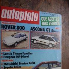 Coches: AUTOPISTA Nº 1407, 3 JULIO 1986, NOVEDADES LKANCIA Y PEUGEOT, ROVER 800. Lote 82062844